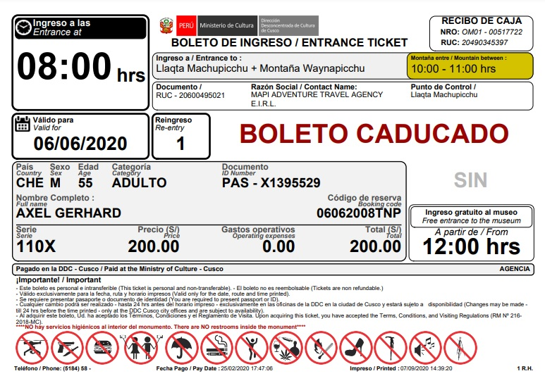 boleto de entrada a Machu Picchu y Huayna Picchu